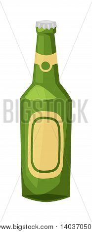 Beer bottle on white background and vector beer bottle. Alcohol drink bottle beverage liquid cold and pub lager beer bottle. Bottle fresh dark cold beer
