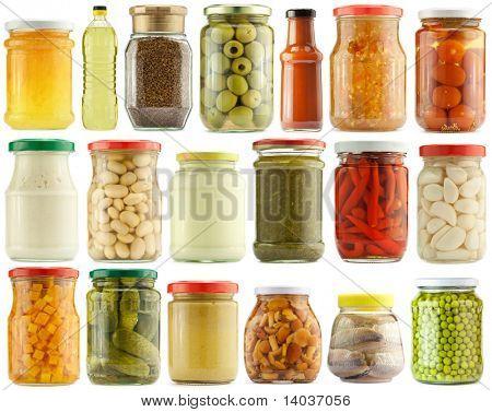 Preserved vegetables and food ingredients set