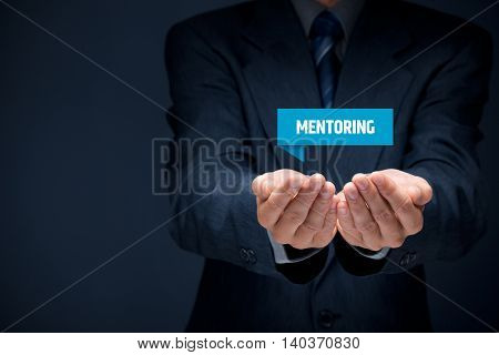 Mentoring advertisement concept. Mentor show virtual label with text mentoring.