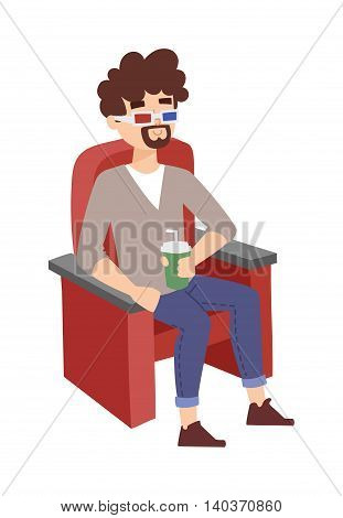 Cinema boy entertainment and fun people concept. Happy cinema boy with 3d glasses watching movie in theater. Beautiful cinema entertaining cheerful boy fun watching leisure vector character.