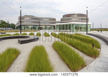 WETZLAR GERMANY - JULY 24 2016: Futuristic buildings of the Leica cameras factory and office in the Leitz Park Wetzlar Hesse Germany