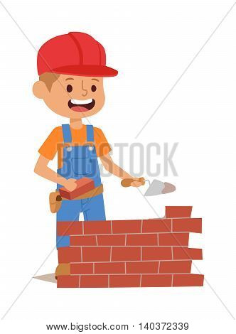 Builders kids bricks wall builder with tools. Vector character builder kid, cute child construction. Little person work equipment. Fun young profession.