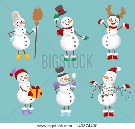 Vector cartoon cute white snowman in clothes with attributes of Christmas in hands on background. Color cartoon snowman characters. Vector cartoon snowman
