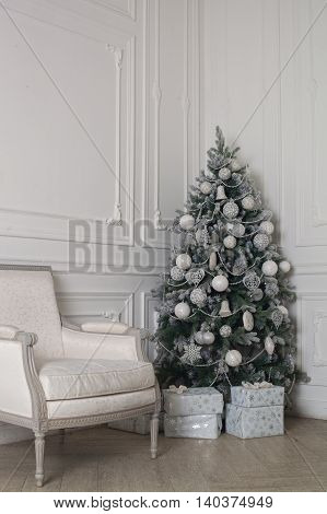 Christmas and New Year decorated interior  with presents and New year tree