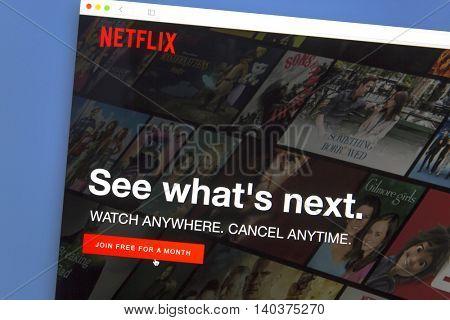 Ostersund, Sweden - July 29, 2016: Netflix website on a computer screen. Netflix is an American multinational entertainment company