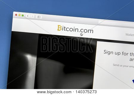 Ostersund, Sweden - July 29, 2016: Bitcoin website on a computer screen. Bitcoin is a digital asset and a payment system invented by Satoshi Nakamoto