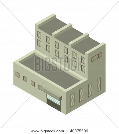 Isometric factory building vector icon. Industrial building infographic element isometric industrial factory, Some warehouse industrial symbol. Architecture house exterior cityscape