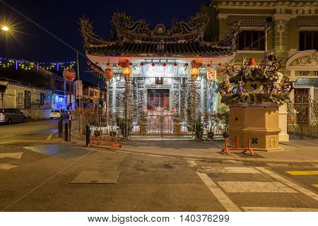 GEORGE TOWN MALAYSIA - MARCH 24: Dusk view of the Choo Chay Keong Temple adjoined to Yap Kongsi clan house Armenian Street George Town Penang Malaysia on March 24 2016.