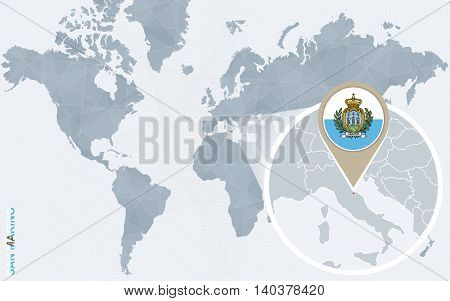 Abstract Blue World Map With Magnified San Marino.