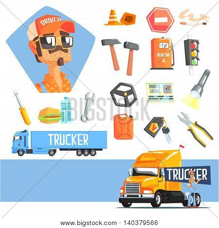 Long-Distance Truck Driver And Elements Related To This Job Cool Colorful Vector Illustration In Stylized Geometric Cartoon Design