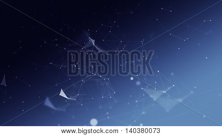 Abstract Polygonal Space Blue Background with Low Poly Connecting Dots and Lines - Connection Structure - Futuristic HUD background