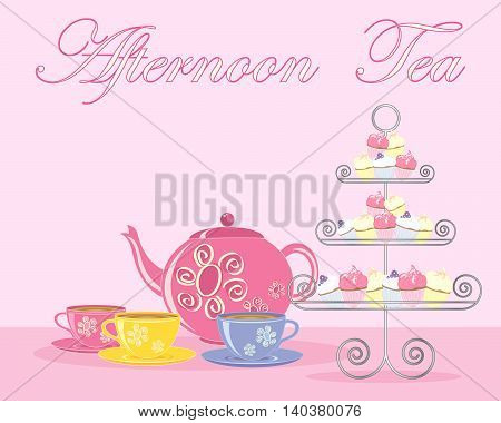 an illustration of a traditional english afternoon tea in advert format with teapot cups and fancy cake stand on a pink background, vector