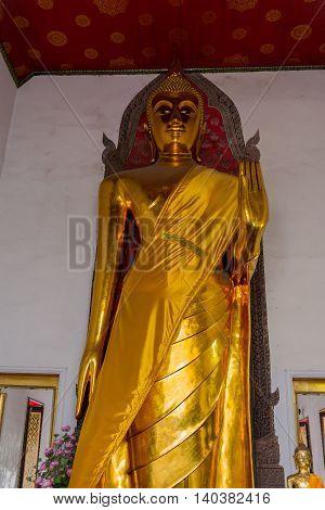 Buddha Statue At Famous Wat Pho In Bangkok, Thailand
