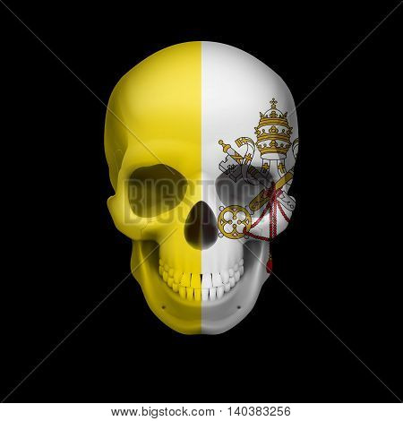 Human skull with flag of Vatican City. Threat to national security war or dying out