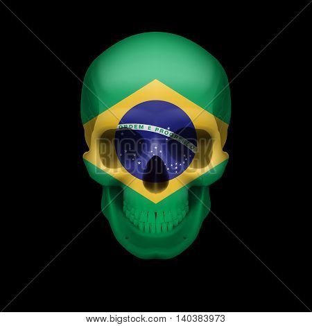 Human skull with flag of Brazil. Threat to national security war or dying out