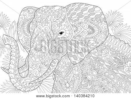 Stylized elephant among leaves of palm tree. Freehand sketch for adult anti stress coloring book page with doodle and zentangle elements.