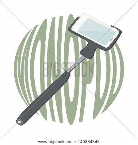 Monopod for selfie with cell phone. Vector illustration.