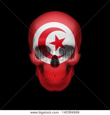 Human skull with flag of Tunisia. Threat to national security war or dying out