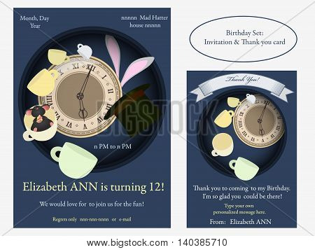 Alice in Wonderland. Mad tea party Birthday Invitation. Retro illustration.