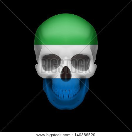 Human skull with flag of Sierra Leone. Threat to national security war or dying out