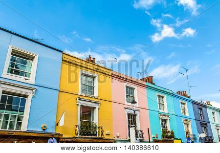 Colourful English Terraced Houses in Notting Hill London
