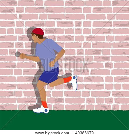 illustration of man running and wall in the background