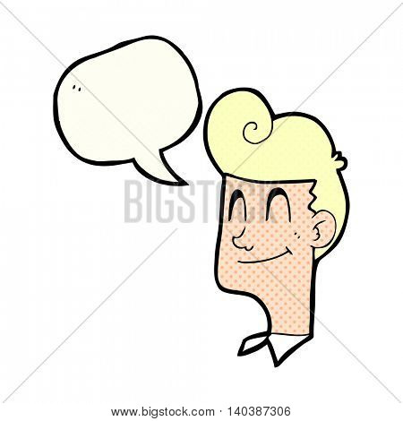 freehand drawn comic book speech bubble cartoon smiling man