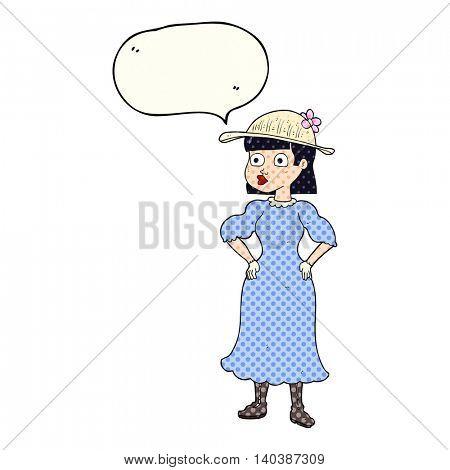 freehand drawn comic book speech bubble cartoon woman in sensible dress
