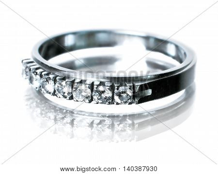 Brilliant ring or diamond ring, isolated on white