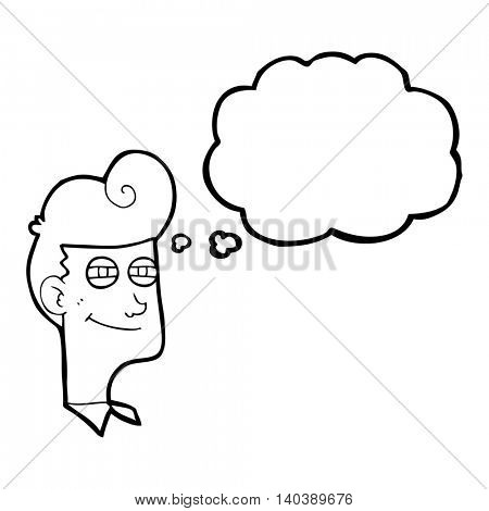 freehand drawn thought bubble cartoon smiling man