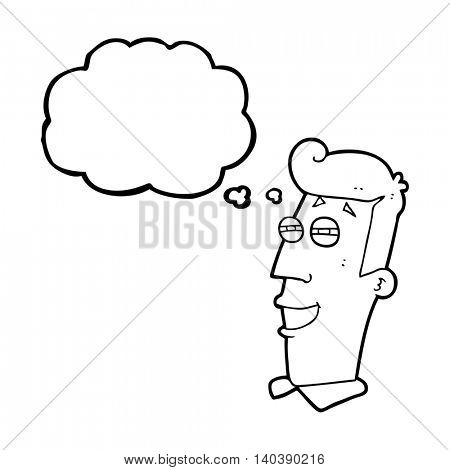 freehand drawn thought bubble cartoon grinning man poster
