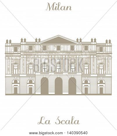 vector hand-drawn illustration of Teatro alla Scala in Milan