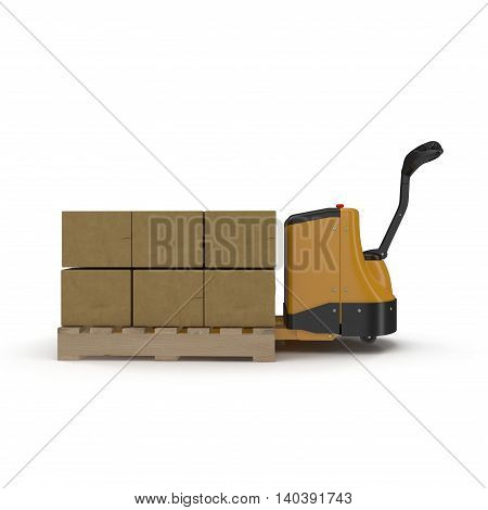 Cardboard Boxes on Powered Pallet Truck Isolated on White Background 3D Illustration