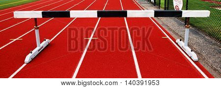 Steeplechase barrier ready for athletes to race. Steeplechase is a big event in the Olympics