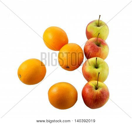 Like apples and oranges - Picture of apples in a line and oranges all over the place.