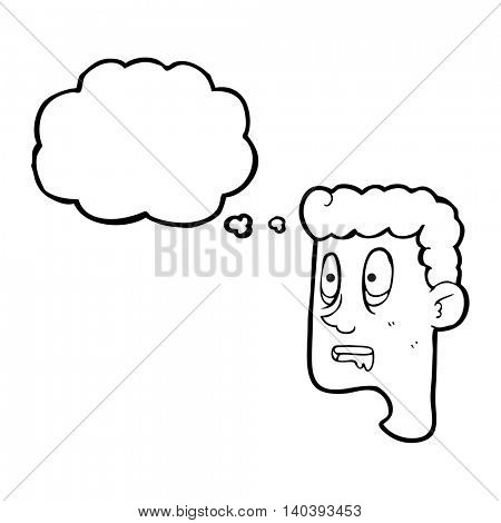 freehand drawn thought bubble cartoon staring man drooling