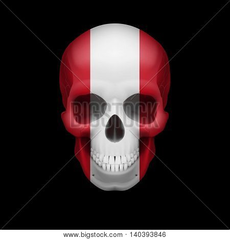 Human skull with flag of Peru. Threat to national security war or dying out