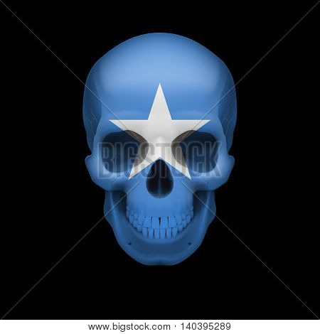 Human skull with flag of Somalia. Threat to national security war or dying out