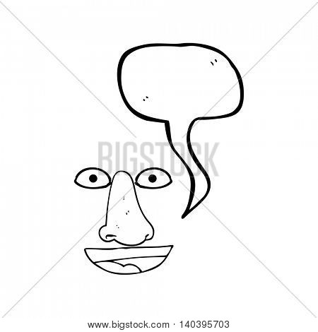 freehand drawn speech bubble cartoon facial features