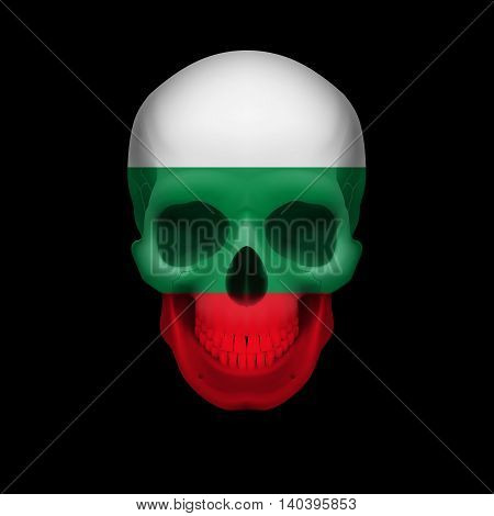 Human skull with flag of Bulgaria. Threat to national security war or dying out
