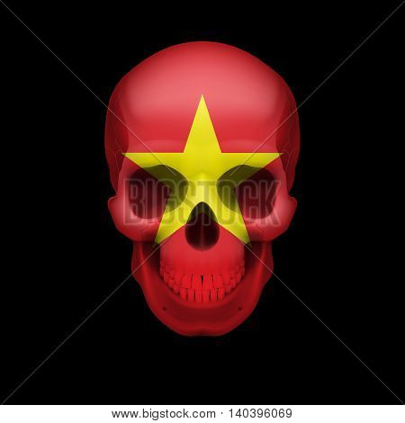 Human skull with flag of Vietnam. Threat to national security war or dying out
