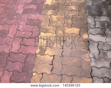 close up crack brick floor in garden