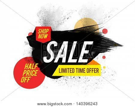 Sale Poster, Banner or Flyer design, Limited Time Offer Ribbon, Half Price Off, Typographical abstract background with watercolor brush stroke.