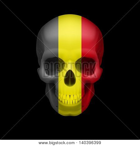 Human skull with flag of Belgium. Threat to national security war or dying out