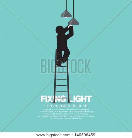 Black Symbol Person On Stepladder Change Ceiling Light Vector Illustration. EPS 10