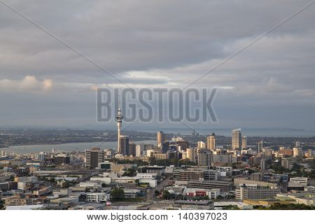 Auckland, New Zealand - February 8, 2015: View of the city skyline as seen from Mount Eden