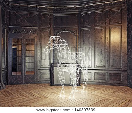 low-poly style glowing  horse in the luxury interior. 3d rendering concept