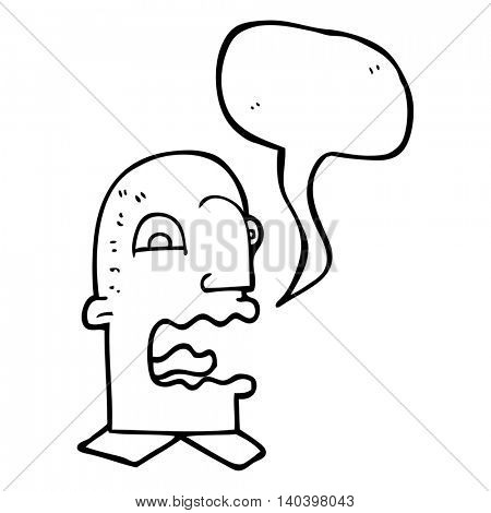 freehand drawn speech bubble cartoon burping man poster