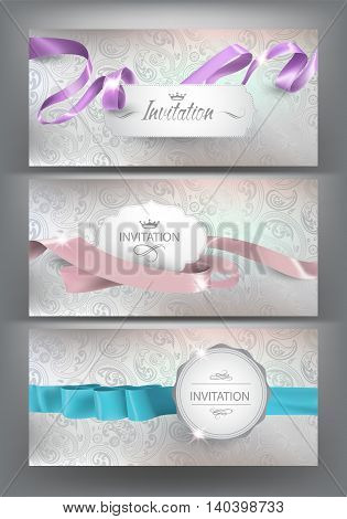 Set of elegand invitation cards with silk curly ribbons