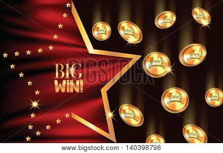 BIG win background with falling gold coins